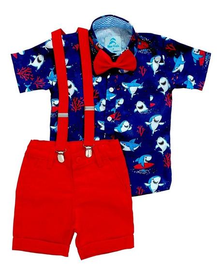 Roupa Festa Temática Infantil Aniversário Camisa Social, Bermuda, Suspensório E Gravata Menino
