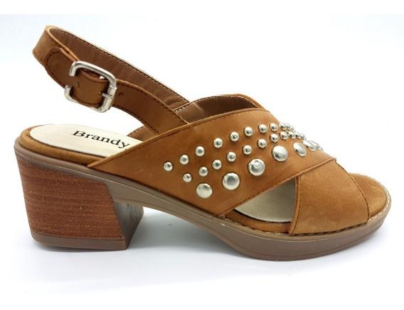 Zapato Sandalia Cuero Tachas Base De Goma Taco Mujer Ar3024