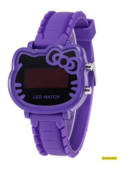 Relógio De Pulso Hello Kitty Infantil Menina Digital Led