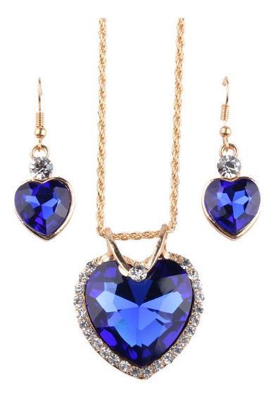 Collar Cadena Dije Con Aretes Corazones Grandes Azul Zafiro