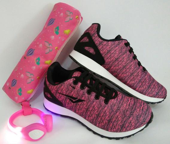 Tênis Bouts Pink E Preto Cadarço Em Elastico Com Brinde