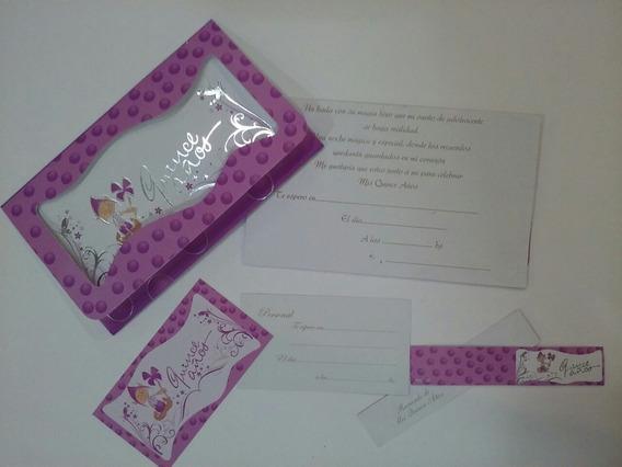 Tarjetas De Invitacion 15 Años Mod. Duende Lila Paquete X 10