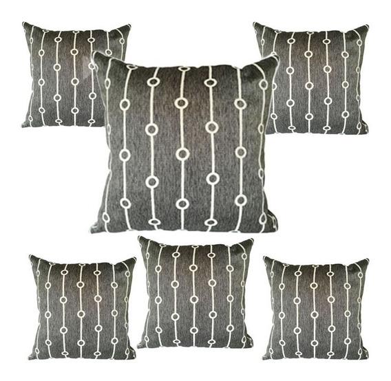 6 Cojines Decorativos Gris Geometrico Para Salas Y Recamaras
