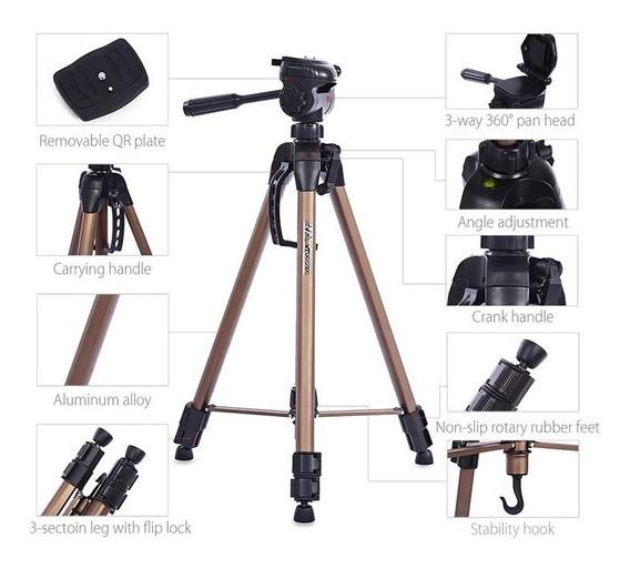 Tripé Universal Fotográfico Profissional Nikon Canon Wt 3770