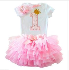 82d351eb01 Vestido Infantil 1 Um Ano Kit Body Saia Tutu Tiara Laço Bebê