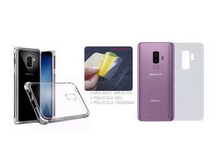 Capa Ant Imp + Pel Gel + Skin Traseira Samsung S9 + Plus 6.2