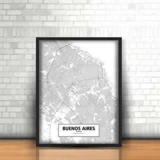 Cuadros Con Marco Y Vidrio. Mapas. Ciudades. 30x40cm