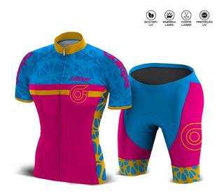 Conjunto Ciclismo Dry Uv Feminino Pink Com Azu Frete Gratis