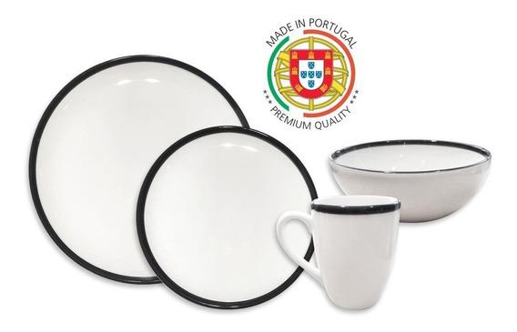 Juego De Vajilla Cerámica Pottery Hudson 16 Piezas Negro