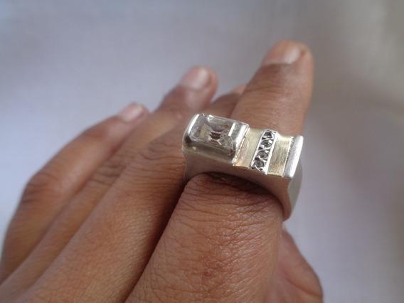 Anel Prata De Lei Detalhes Ouro Zirconia Aro 21 - 14*
