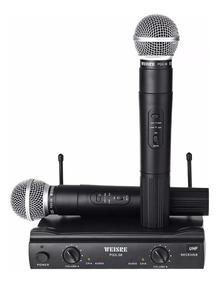 Microfone Duplo Sem Fio Profissional Uhf Karaoke Pgx-58