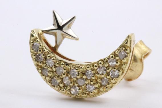 Brinco Ouro 18k Lua E Estrela Diamantes