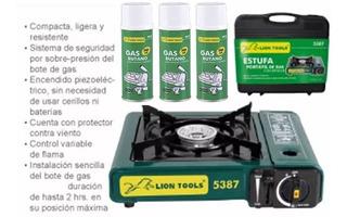 Estufa Portátil Gas Campismo Más 3 Latas Lion Tools 5387