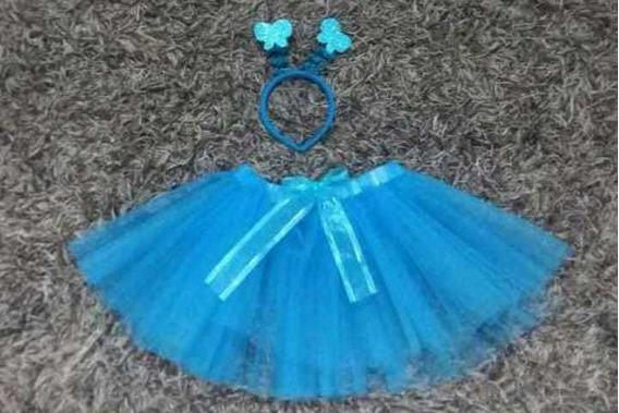 Tutú Disfraz Faldita Mariposa Azul Primavera Talla 10-12