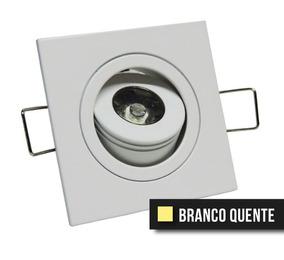 Kit 5 Mini Spot 1w Direcionavel Branco Quente (quadrado)