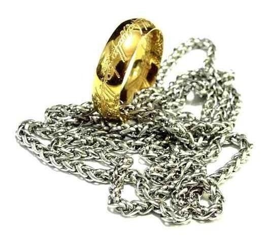 Anel Colar Senhor Dos Anéis 3d Tung Ouro + Corrente Aço Inox