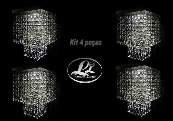 Kit 4 Lustres Cristal Acrílico Montado C/iluminação Grátis