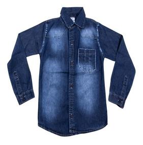 Camisa Jeans Meninos Infantil Juvenil Masculina Tam 4 Ao 16