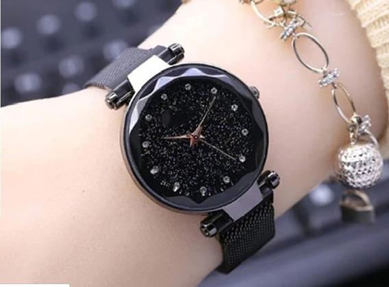 Relógio Feminino Preto De Pulso Barato