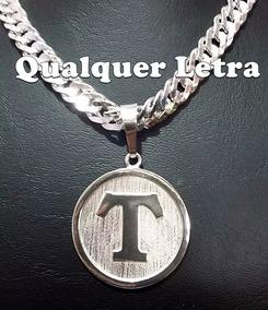 Pingente De Letra Em Prata 925 Original. 4,5cm.