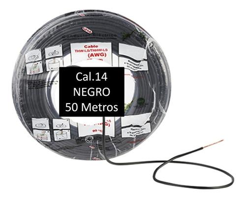 Imagen 1 de 1 de Bolsa 50 Mts Cable Iusa Negro Thw Cal 14 Awg 100%cobre
