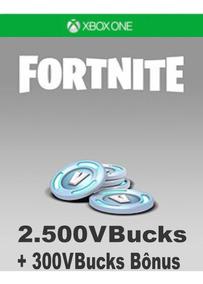 Fortnite 2500 V-bucks + 300 Bônus - Ativação Xbox One
