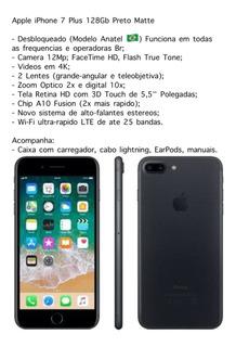 Apple iPhone 7 Plus 128gb Preto Matte