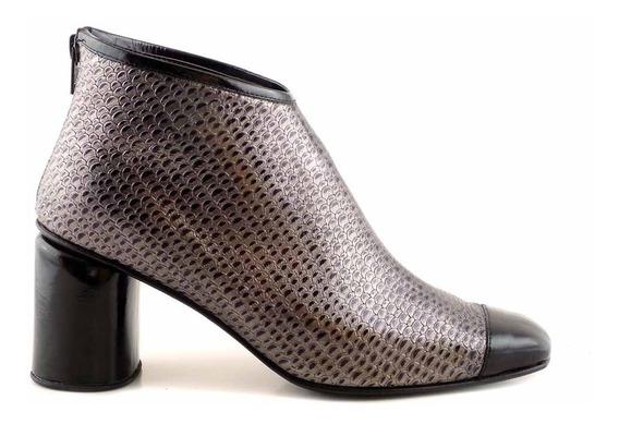 Botineta Mujer Vestir Cuero Taco Briganti Zapato Mcbo24895
