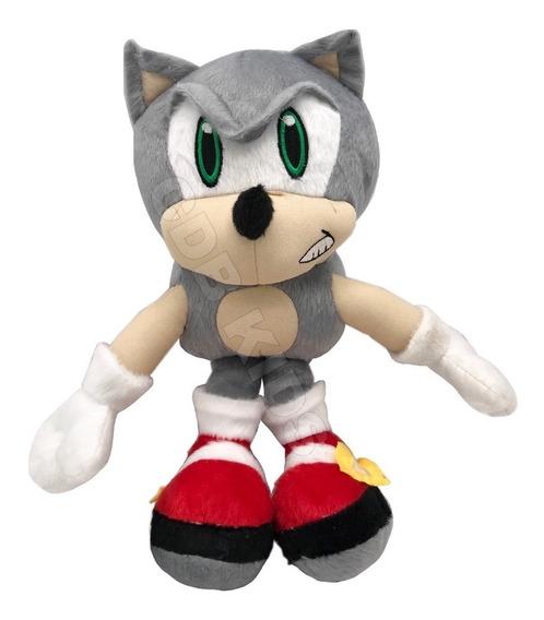 Pelúcia Do Sonic Prata Hedgehog Super Sonic Prateado 35cm