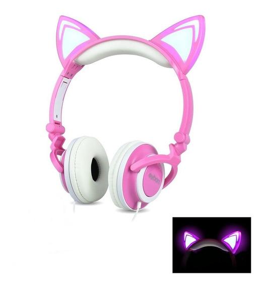 Headphone Orelha De Gato Rosa Com Led Hfc22