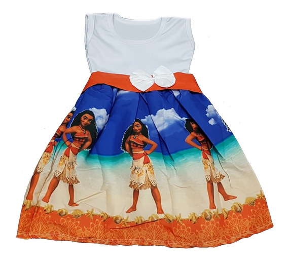 Vestido Temático Infantil Moana Baby Ou Adulta Fab3