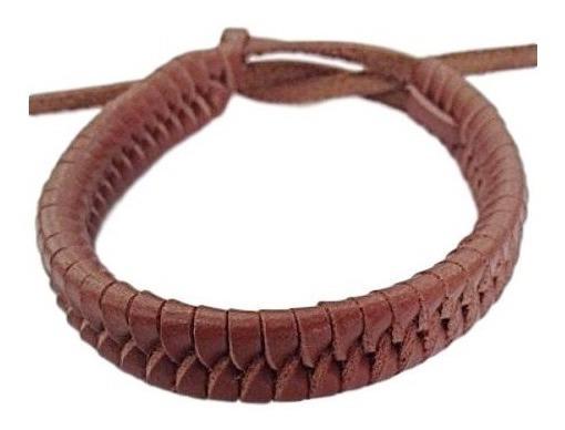 Pulseira Masculina Feminina 100% Couro Bracelete Trançado