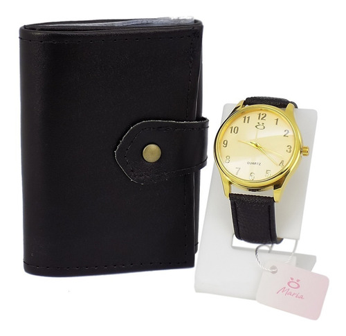 Kit Relógio Feminino Dourado + Carteira  100% Original