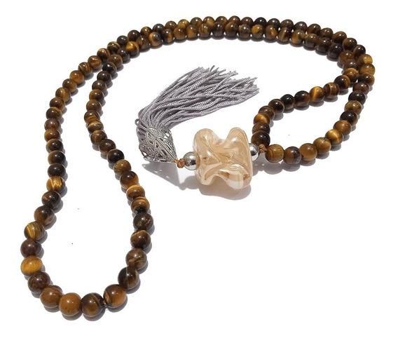Japamala Pedra Natural Olho De Tigre - Dinheiro Prosperidade
