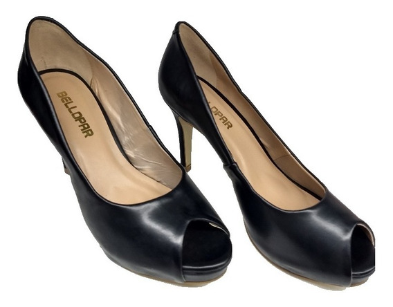 Sapato Feminino Meia Pata Peep Toe Aberto Preto Básico