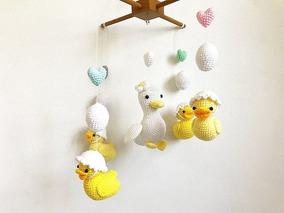 Mobile De Berço Familia De Patinhos Em Croche Quarto Do Bebe