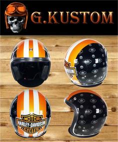 Capacete Old School Customizado G.kustom - Harley Davidson