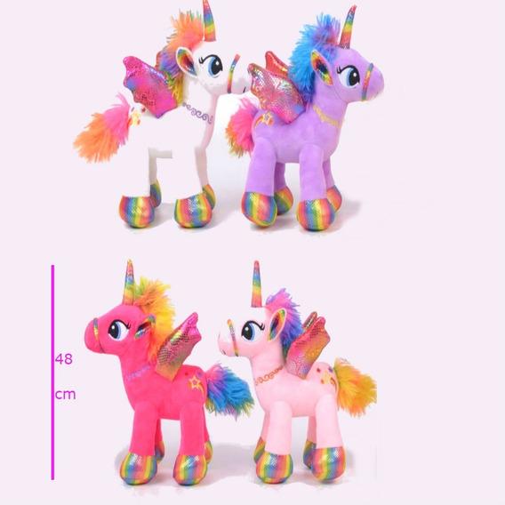 Peluche Unicornio Grande 48 Cm Alto Real Cuatro Colores Gran