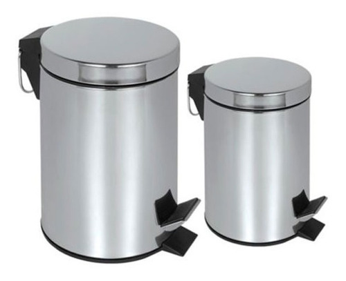 Papelera En Acero Set 3 Y 7 Lts Baño Oficina Cocina Caneca
