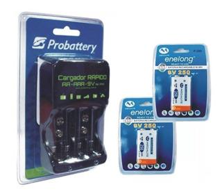Cargador Bateria 9v + 2 Pilas Baterias Recargables 250 Mah