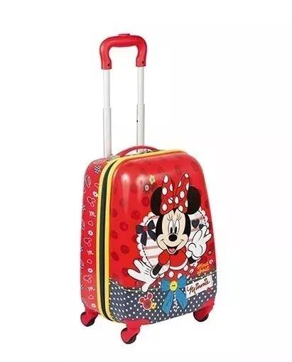 Malinha Infantil Mala Rígida Escolar Minnie Mouse Vermelha 18pc Rodinhas 360° Sestini