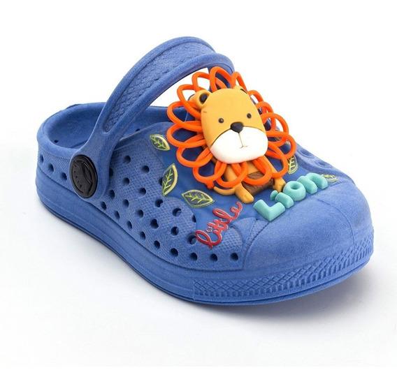 Babuche Plugt Joy Leãozinho Leão Infantil - Azul