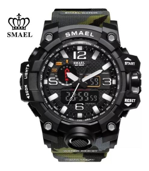Relógio Militar Original Smael Analógico Digital Camuflado