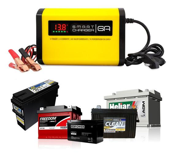 Carregador De Bateria 12v 6a V3.0 P/ Agm Gel Estacionaria Nobreak Alarme Painel Solar Ou Fonte Automotiva Led Som Modulo
