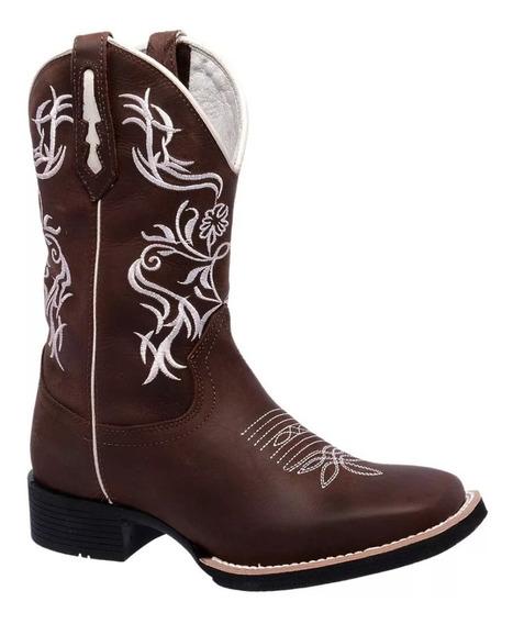 Bota Texana Feminina Country Cano Alto Bordada Couro Bovino