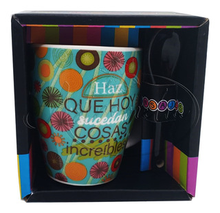 Taza Ceramica Expresso Con Cuchara Regalo Amor Amistad 4