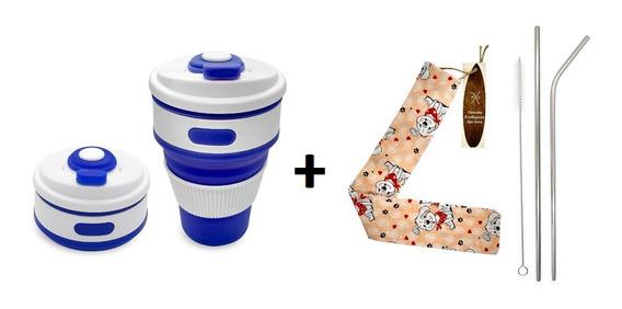 Copo Silicone Dobrável Ecológico + Kits Canudo Inox + Brinde