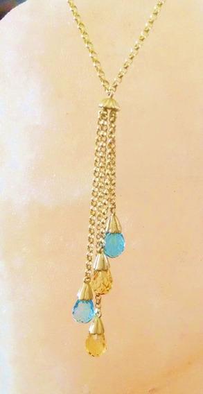 Collar Con Topacios Azules Y Citrinas Cadena Rolo 43 Cm 10k