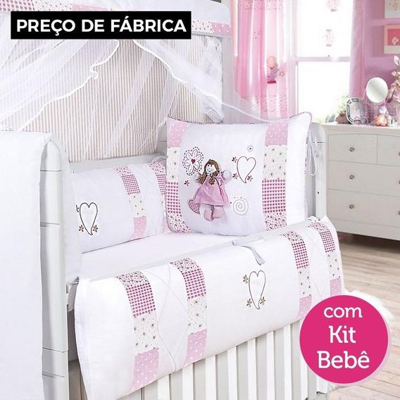 Kit Berço Menina Alice + Saia De Berço + Kit Bebê - 19 Peças