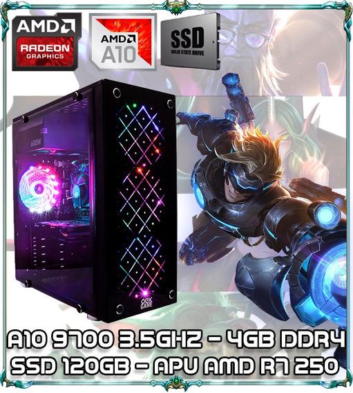 Cpu Pc Gamer A10 9700 Quad Core 3.5gz 4gb Ssd 120gb N Vortex